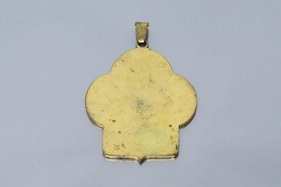 Important pendentif figurant l'ange de Saint-Sixte par Raphaël, signé B. Wicker...