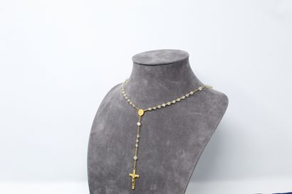 Chapelet en or jaune 18K (750) et pierres...