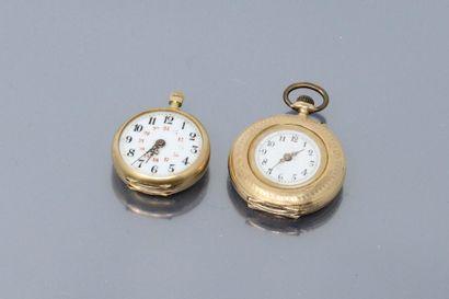 Lot de deux montres de col en or jaune 18k...