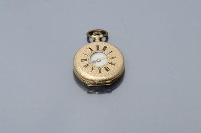 Montre de col en or jaune 14k (585), cadran...