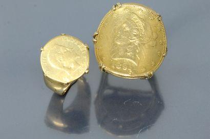 Deux chevalières en or jaune 18k (750) composées...