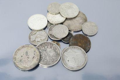Lot de 19 pièces en argent diverses françaises...