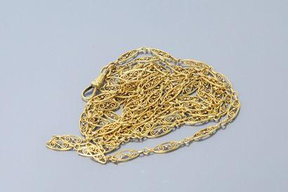 Chaîne giletière en or jaune 18k (750) à...