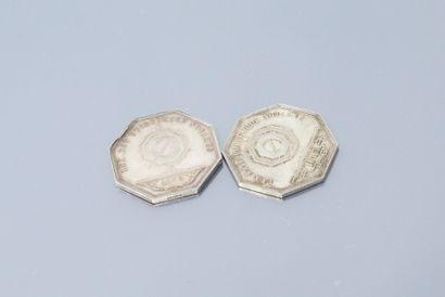 Deux jetons octogonaux en argent des Notaires...