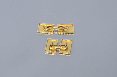 Paire de boutons de manchette rectangulaires à pointes de diamant en or jaune 18k...