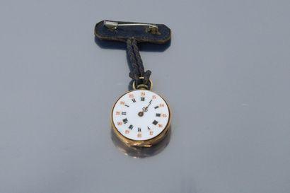 Débris de montre de col en or jaune 18k (750)....