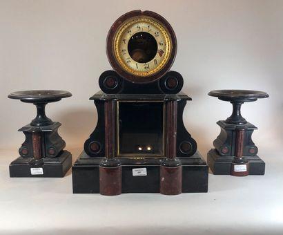 Garniture de cheminée en marbre noir, rouge...