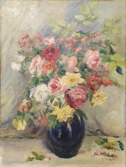 BERCHON F. (XX-XXIeme)  Bouquet de roses...