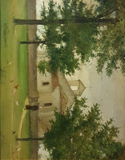 VERITE Lucien (1866-1926)  farmer near a church  Oil on panel signed lower right...
