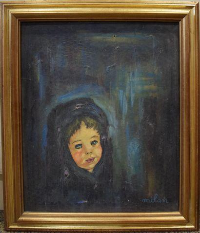 Andrée MELAN (XIX-XX)  Portrait de fillette dans l'obscurité,  Huile sur toile signée...