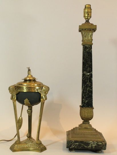Deux pieds de lampe :  - l'une en forme d'oeuf...