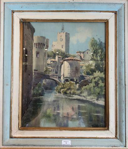 NANDONNOT PIERRE (1891-1970)  Fleuve aux abords d'une ville  Aquarelle, signée en...