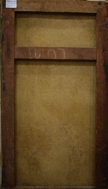 ECOLE MODERNE  Bouquet de dalhia,  Huile sur toile, traces de signature en bas à...