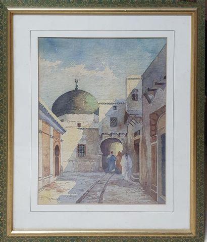 THOMAS A, XXe siècle,  Rue à Tunis,  aquarelle sur papier (rousseurs),   signé en...