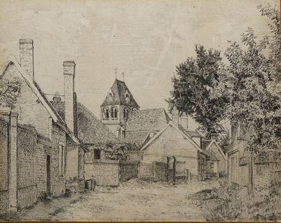 DELAMARRE E., début XXe siècle,  Rue de village,...
