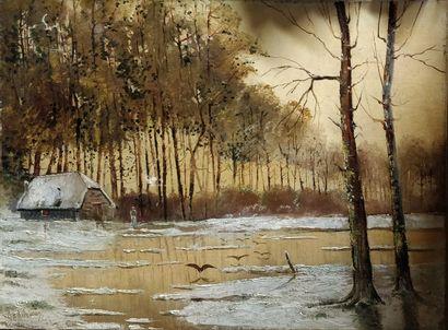 GODCHAUX, XIX-XXe siècle,  Ferme en hiver,...