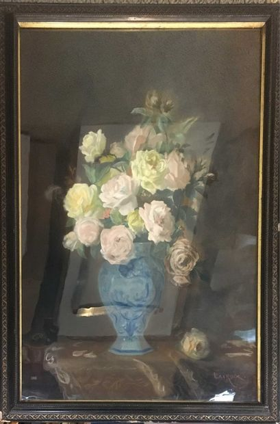 LACROIX (XX-XXI)  Bouquet de rose  Deux huile...