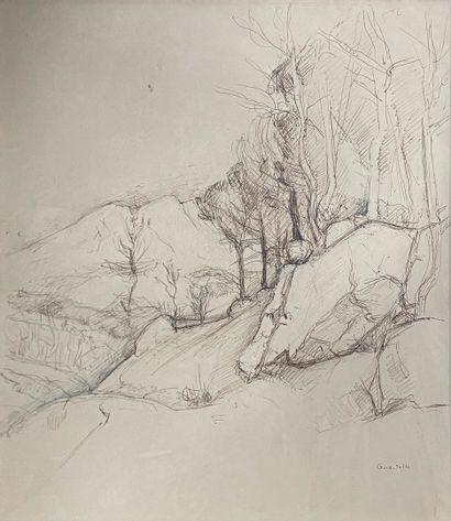 GUASTALLA Pierre, 1891-1968  Arbres et rochers...