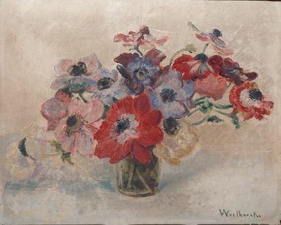 WIELHORSKI Alain, 1950-2015,  Bouquet d'anémones,...