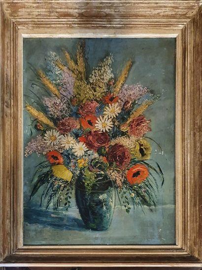 ECOLE MODERNE  Bouquet champêtre  Huile sur...