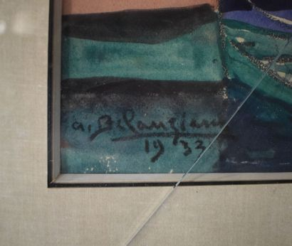 A. BELANZIARNI (?)  Port, 1933,  Aquarelle et gouache, signée en bas à gauche et...