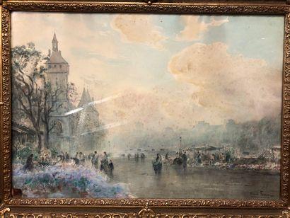 FOREAU Henri, 1866-1938,  Marché aux fleurs...