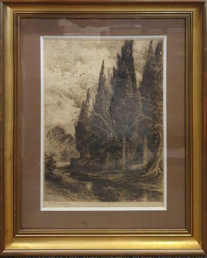 BRUNET-DEBAINES Albert Louis (1845-1939), D'après  Sous bois  Gravure signée dans...