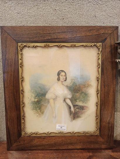 Elisa GANGE Portrait de jeune fille en pied, 1839 Aquarelle