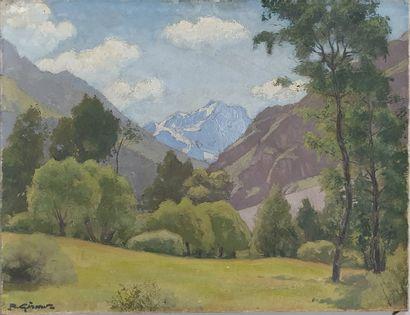 GIRARD R (XX-XXI)  Paysage de montagne  Huile...