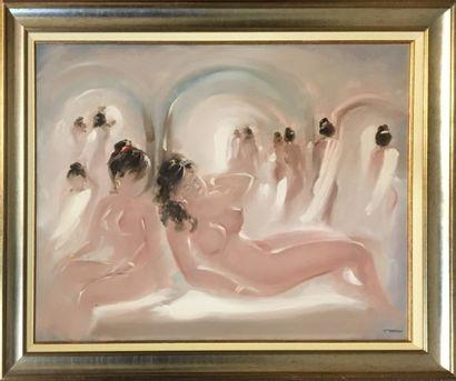 CHAOUI Salah (1944-)  Le hamam  huile sur...