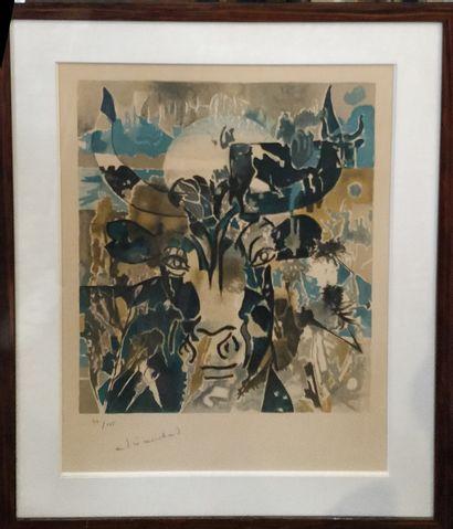 MARCHAND André (1907-1977)  le boeuf,  lithographie...