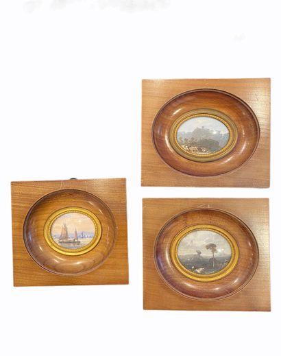 Sept petites miniatures sur ivoire. Paysages...
