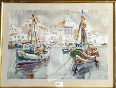 ECOLE FRANCAISE XXe siècle,  Le port de Salva,...