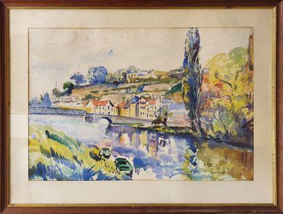 DEVARENNES A (XXeme)  bord de fleuve,  aquarelle...