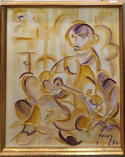 PEREZ (XX)  Le guitariste, 1974  huile sur...