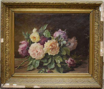 ECOLE XIXeme  Jeté de roses  Huile sur toile