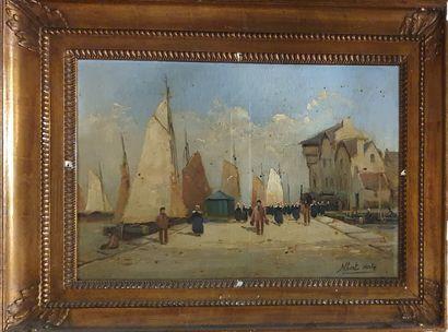 HIRTZ Albert(1898-1976)  Scène de port en...