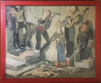 ECOLE FRANCAISE ( XXe)  Musiciens de rue,...