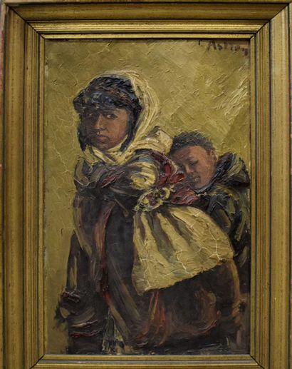 ASTRAN Louis-Omer (1884-1965)  Mère et enfant...