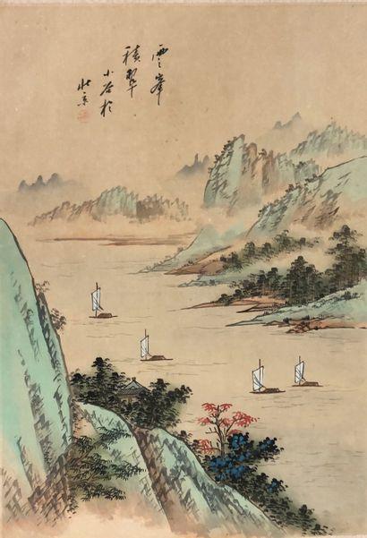 CHINE, XXème siècle  Réunion de deux reproductions...