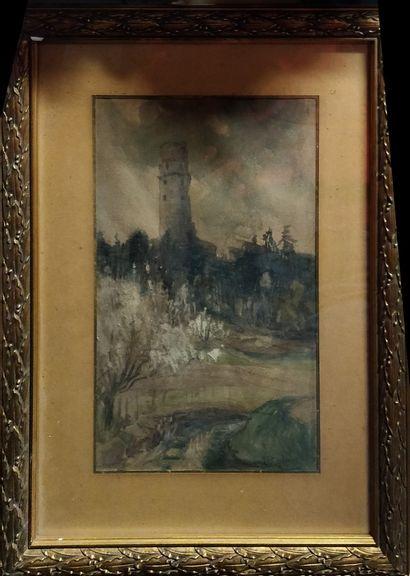 ROBIN L, début XXe,  Village, 1920  Aquarelle...