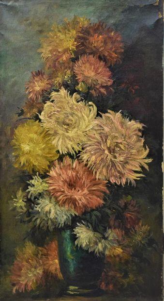 ECOLE MODERNE  Bouquet de dalhia,  Huile...