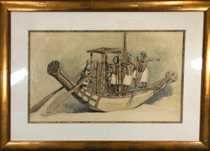 HALL-NEALE George, 1863-1940  Maquette de bateau egyptien  aquarelle sur papier...