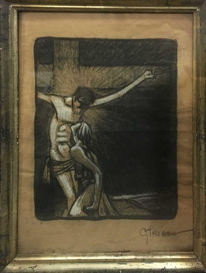 ECOLE MODERNE Christ en croix Crayon noir...