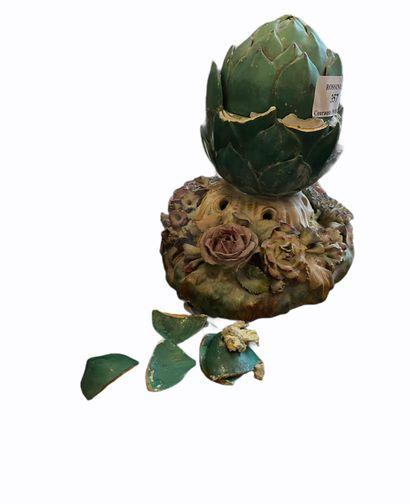 Pique-fleur « artichaut » en porcelaine de...