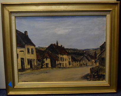 REMON Jean-Pierre (1928-)  Vue de village,...