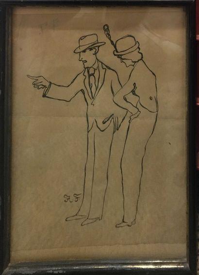 FOY André (1886/92-1953)  Couple,  Encre...