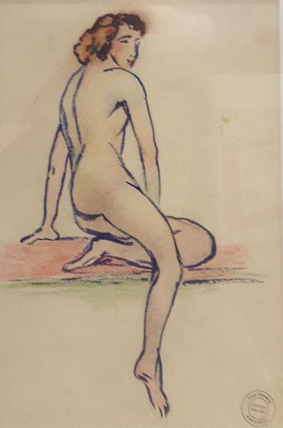 SORLAIN Jean (1859-1942)  Nu féminin  Crayon...