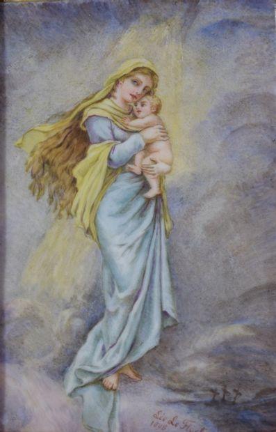 Vierge à l'enfant en porcelaine signée Léo...