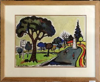 AUTRAN Henri (1926-2007)  Le square  Gouache...